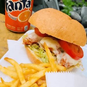 Lunch - Chicken Parmesan and French Fries Burger Combo with Soda Can