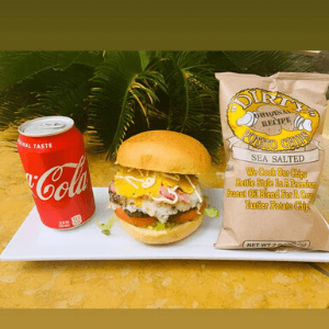Lunch Combo Hawaiian Burger with Chips Potato and Soda Can