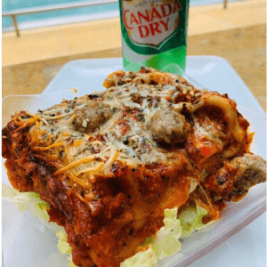 Lunch - Italian Sausage Lasagna with Canada Dry Soda Can