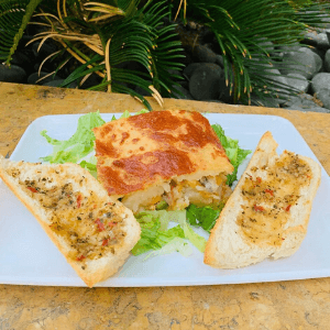 Lunch Special - Chicken Sheperds Pie with Garlic Bread