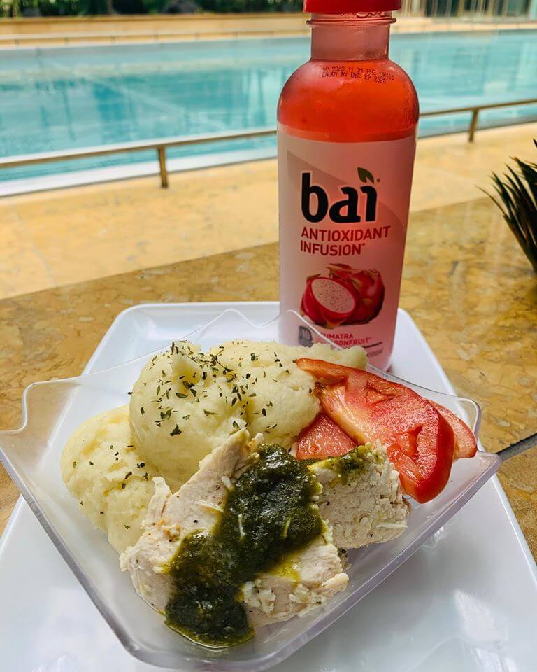 Lunch Special Mashed Potatoes and Pesto Chicken with Bai Bottle