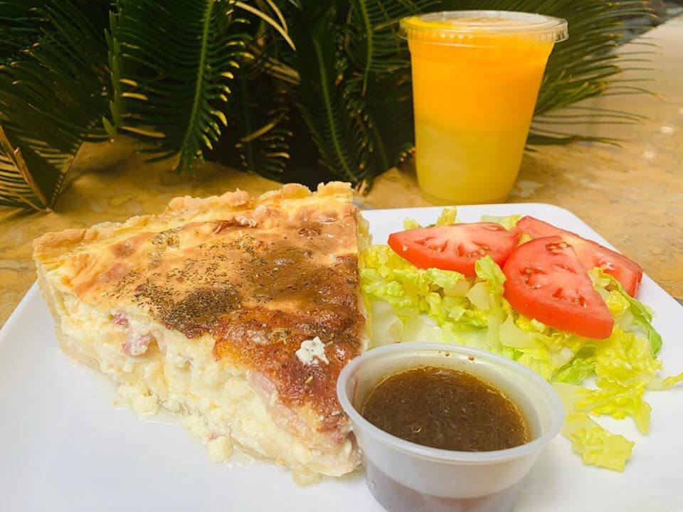 Lunch Special Quiche Lorraine with Salad and Fresh Squeezed Juice