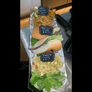 Lunch - Trio of Caprese Pasta Salad and Pan con Bistec Sandwich and Arroz Con Pollo Hot Plate