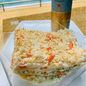 Lunch - Veggie Lasagna and San Pellegrino